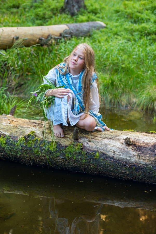 Πορτρέτο ενός ονειρεμένος μικρού κοριτσιού στοκ εικόνες με δικαίωμα ελεύθερης χρήσης