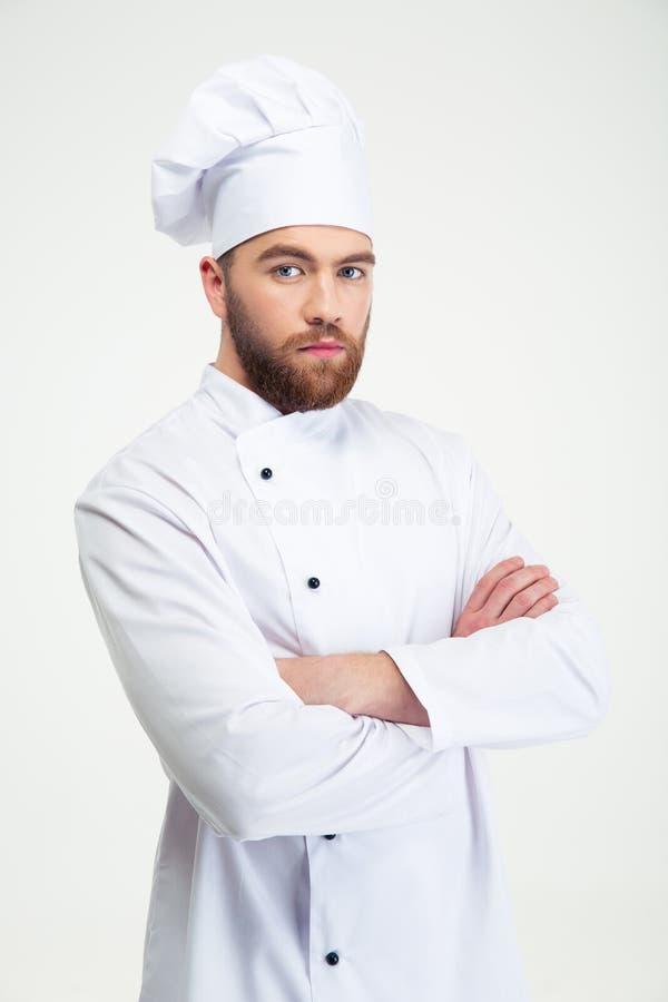 Πορτρέτο ενός σοβαρού αρσενικού μάγειρα αρχιμαγείρων στοκ εικόνες