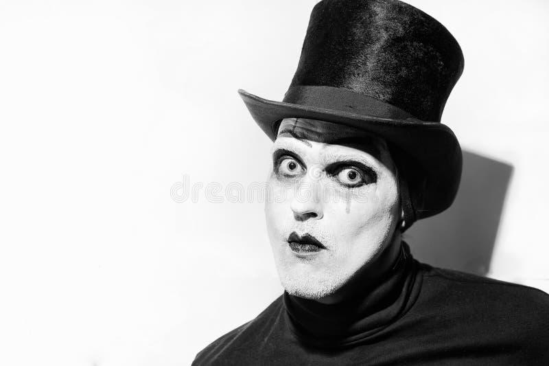 Πορτρέτο ενός τρομακτικού υ mime στοκ φωτογραφία