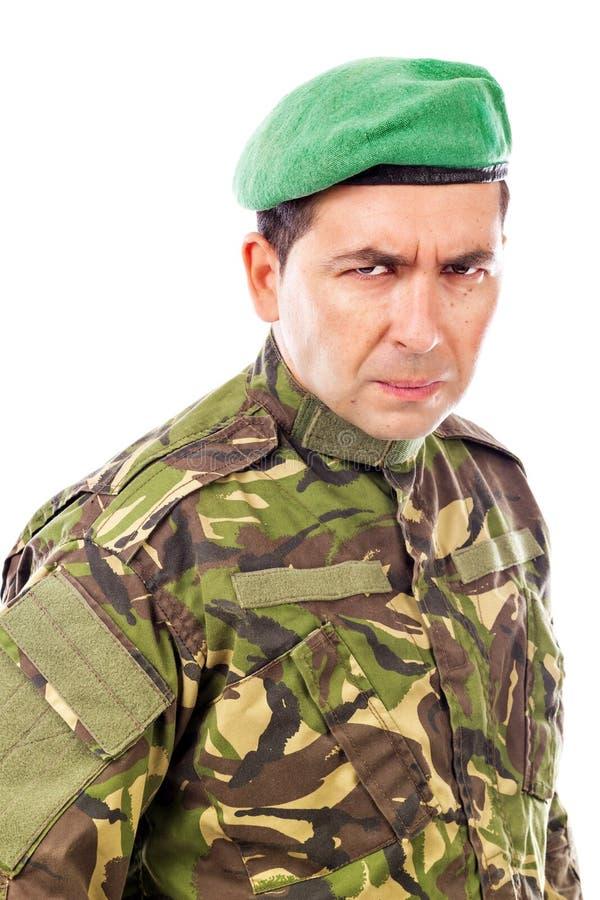Πορτρέτο ενός υ στρατιώτη με πράσινο beret στοκ φωτογραφία με δικαίωμα ελεύθερης χρήσης