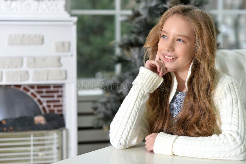 Πορτρέτο ενός χαμογελώντας κοριτσιού εφήβων με μακρυμάλλη στοκ φωτογραφίες