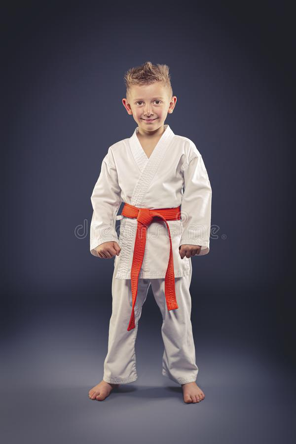 Πορτρέτο ενός χαμογελώντας παιδιού με τις πολεμικές τέχνες άσκησης κιμονό στοκ φωτογραφία με δικαίωμα ελεύθερης χρήσης