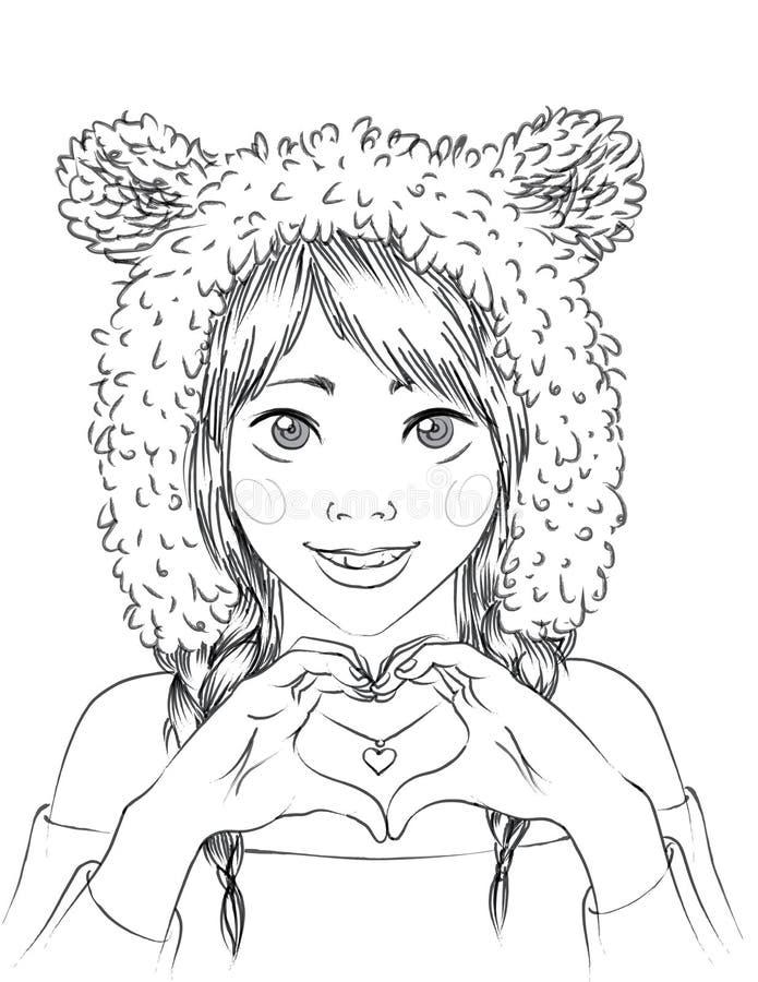 Πορτρέτο ενός χαριτωμένου κοριτσιού στο ζωικό καπέλο ελεύθερη απεικόνιση δικαιώματος