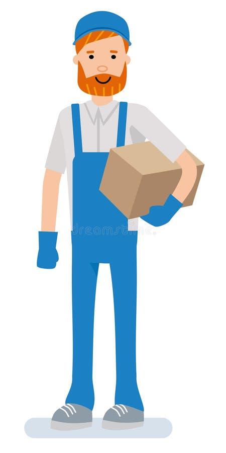 Πορτρέτο ενός όμορφου ευτυχούς αποθηκάριου Πρόσωπο χαρακτήρα κινουμένων σχεδίων στις καταστάσεις εργασίας διανυσματική απεικόνιση