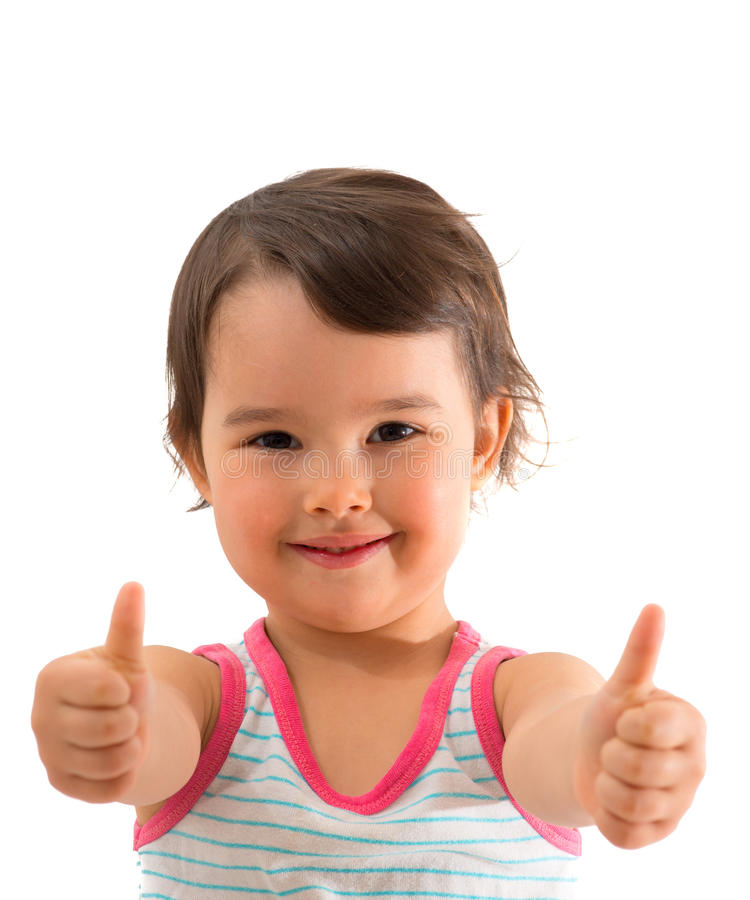 Πορτρέτο ενός όμορφου και βέβαιου κοριτσιού που παρουσιάζει αντίχειρες που απομονώνονται επάνω πέρα από το λευκό στοκ φωτογραφία με δικαίωμα ελεύθερης χρήσης