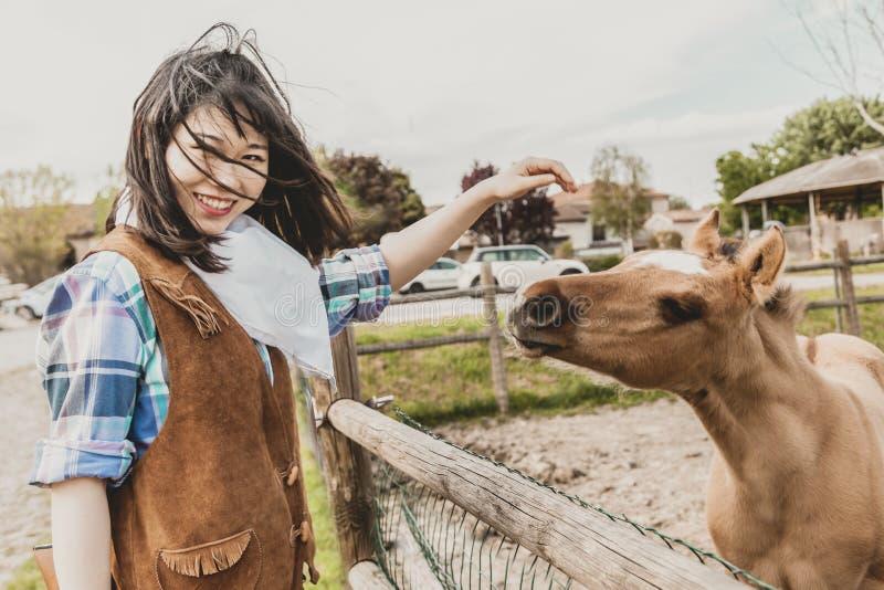 Πορτρέτο ενός όμορφου κινεζικού θηλυκού cowgirl κτυπώντας foal στοκ εικόνες