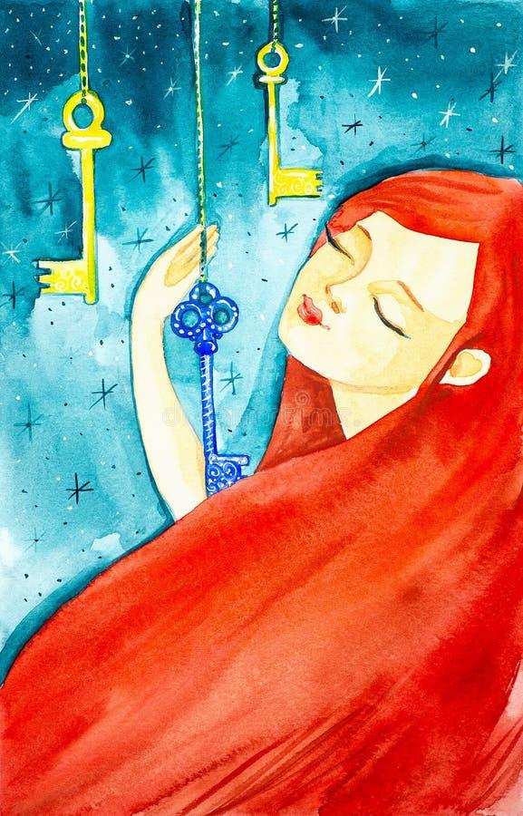 Πορτρέτο ενός όμορφου κοριτσιού με τη μακριά κόκκινη τρίχα και τις ιδιαίτερες προσοχές Το κορίτσι κρατά ενός από τα τρία μυθικά κ στοκ εικόνες