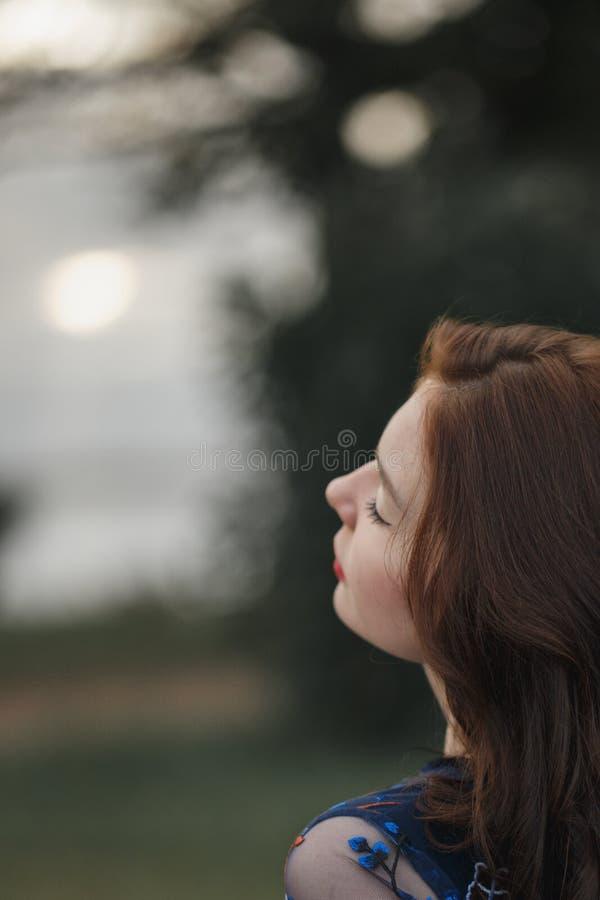 Πορτρέτο ενός όμορφου κοριτσιού σε ένα τοπίο φθινοπώρου, σγουρή τρίχα με τις προσοχές ιδιαίτερες Ομορφιά έννοιας, υγεία, σιωπή, η στοκ φωτογραφία με δικαίωμα ελεύθερης χρήσης