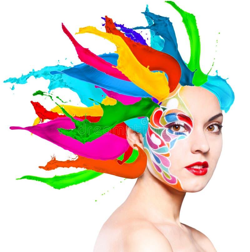 Πορτρέτο ενός όμορφου νέου προτύπου με το φωτεινό μΑ στοκ φωτογραφία με δικαίωμα ελεύθερης χρήσης
