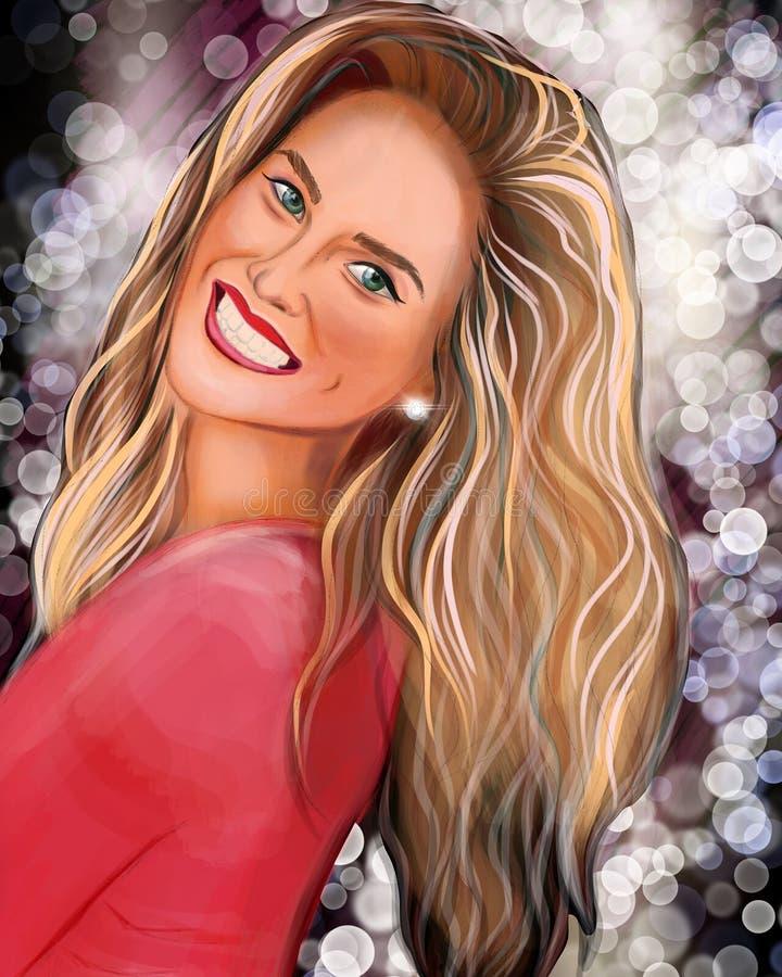 Πορτρέτο ενός όμορφου χαμογελώντας ξανθού κοριτσιού απεικόνιση αποθεμάτων
