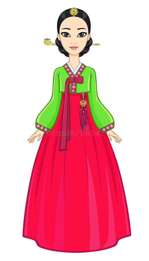 Πορτρέτο ζωτικότητας του νέου κορεατικού κοριτσιού σε ένα αρχαίο κοστούμι πλήρης αύξηση απεικόνιση αποθεμάτων