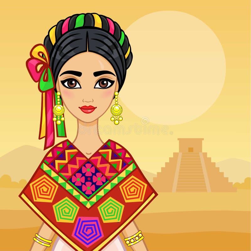 Πορτρέτο ζωτικότητας του νέου όμορφου μεξικάνικου κοριτσιού στα αρχαία ενδύματα Υπόβαθρο - ένα τοπίο βουνών, μια ινδική πυραμίδα διανυσματική απεικόνιση