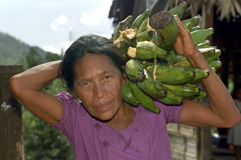 Πορτρέτο ηλικιωμένα φέρνοντας plantains γυναικών στοκ φωτογραφία με δικαίωμα ελεύθερης χρήσης