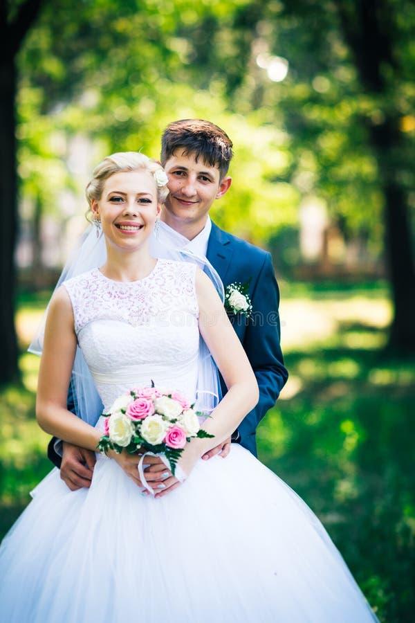 Πορτρέτο η νύφη και ο νεόνυμφος στο υπόβαθρο της αλέας πάρκων στοκ φωτογραφία με δικαίωμα ελεύθερης χρήσης