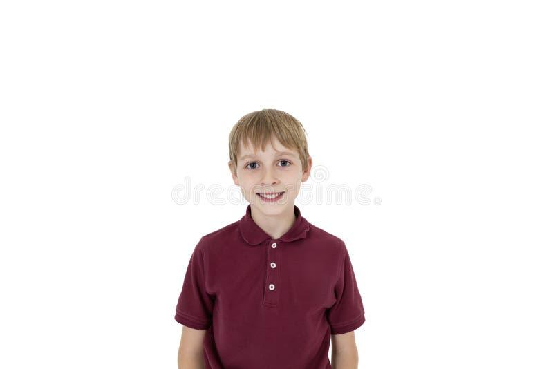 Πορτρέτο διακοπής του αγοριού προ-εφήβων πέρα από το άσπρο υπόβαθρο στοκ εικόνες