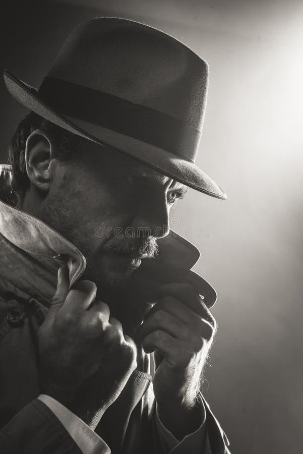 Πορτρέτο ιδιωτικών αστυνομικών ταινιών noir στοκ φωτογραφία με δικαίωμα ελεύθερης χρήσης