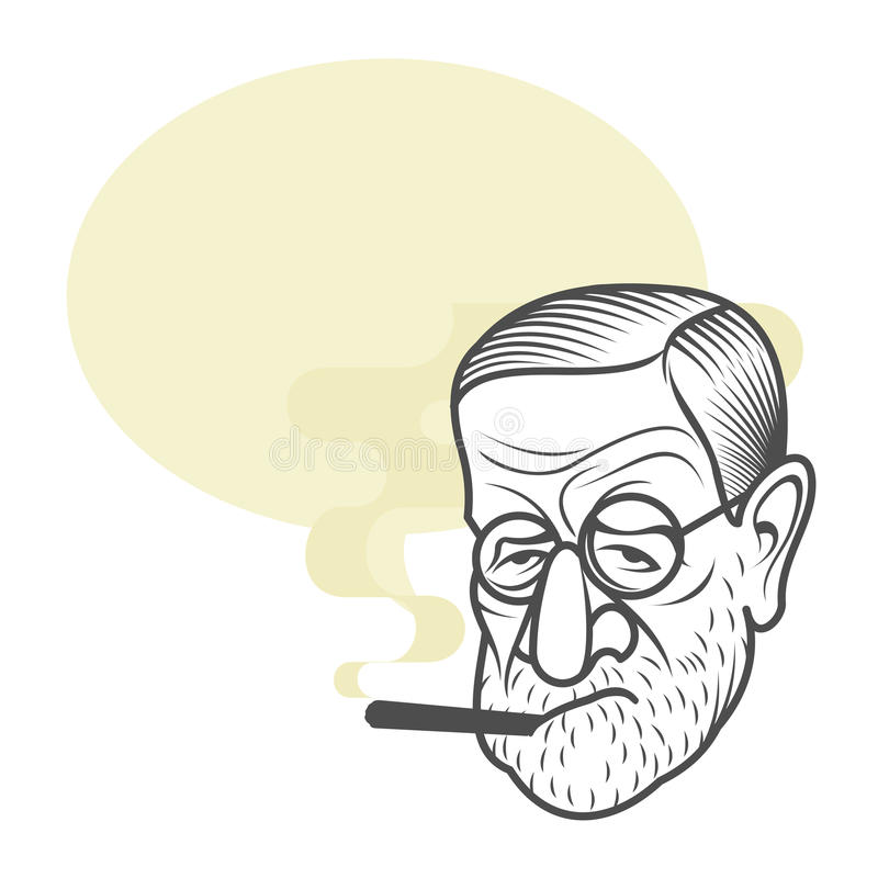 Πορτρέτο καρικατουρών κινούμενων σχεδίων Sigmund Freud απεικόνιση αποθεμάτων