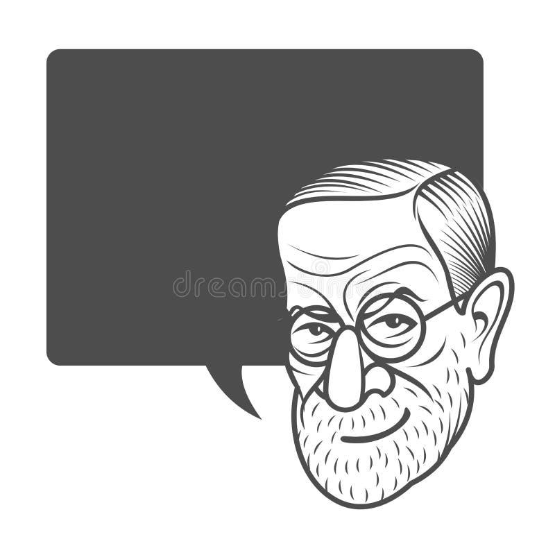 Πορτρέτο καρικατουρών κινούμενων σχεδίων Sigmund Freud διανυσματική απεικόνιση