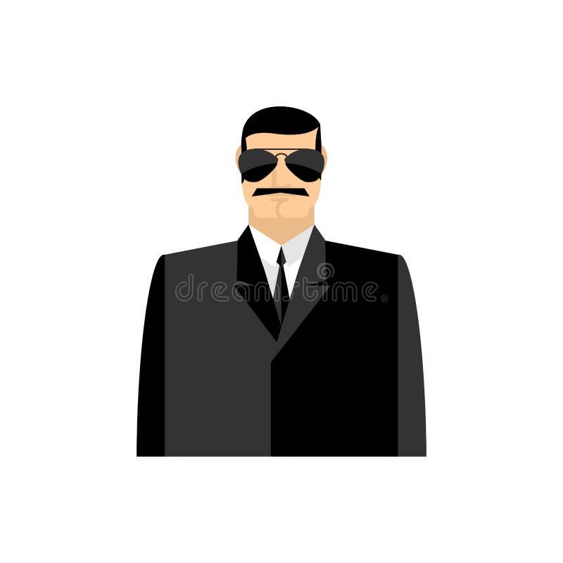Πορτρέτο κατασκόπων Μυστικός πράκτορας στο μαύρο κοστούμι Σωματοφυλακή που απομονώνεται διανυσματική απεικόνιση