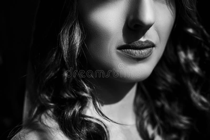 Πορτρέτο κινηματογραφήσεων σε πρώτο πλάνο της νέας γυναίκας με τα όμορφα χείλια στοκ εικόνες
