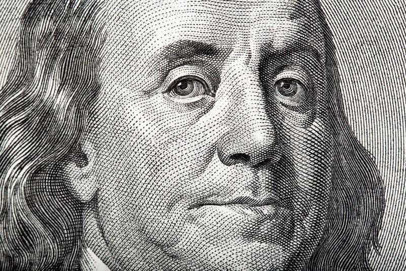 Πορτρέτο κινηματογραφήσεων σε πρώτο πλάνο του Franklin στα αμερικανικά χρήματα στοκ φωτογραφίες