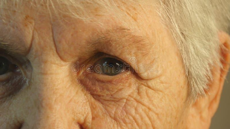 Πορτρέτο κινηματογραφήσεων σε πρώτο πλάνο ενός βλέμματος ηλικιωμένων γυναικών ` s στοκ φωτογραφία με δικαίωμα ελεύθερης χρήσης