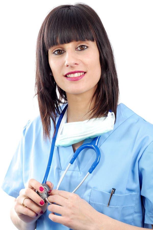 Πορτρέτο κινηματογραφήσεων σε πρώτο πλάνο νέου θηλυκού ιατρικού στο λευκό στοκ εικόνες