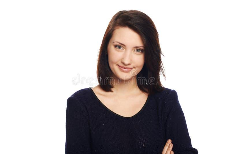 Πορτρέτο κινηματογραφήσεων σε πρώτο πλάνο του νέου χαμόγελου επιχειρησιακών γυναικών στοκ φωτογραφία