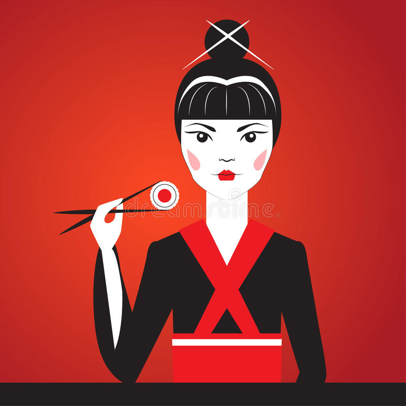 Πορτρέτο κινηματογραφήσεων σε πρώτο πλάνο Oriantal femme fatale σε ένα μαύρο κιμονό που τρώει τα σούσια ελεύθερη απεικόνιση δικαιώματος