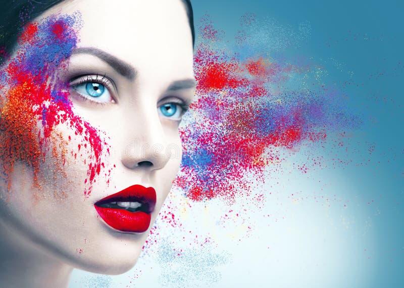 Πορτρέτο κοριτσιών με τη ζωηρόχρωμη σκόνη makeup στοκ φωτογραφία με δικαίωμα ελεύθερης χρήσης