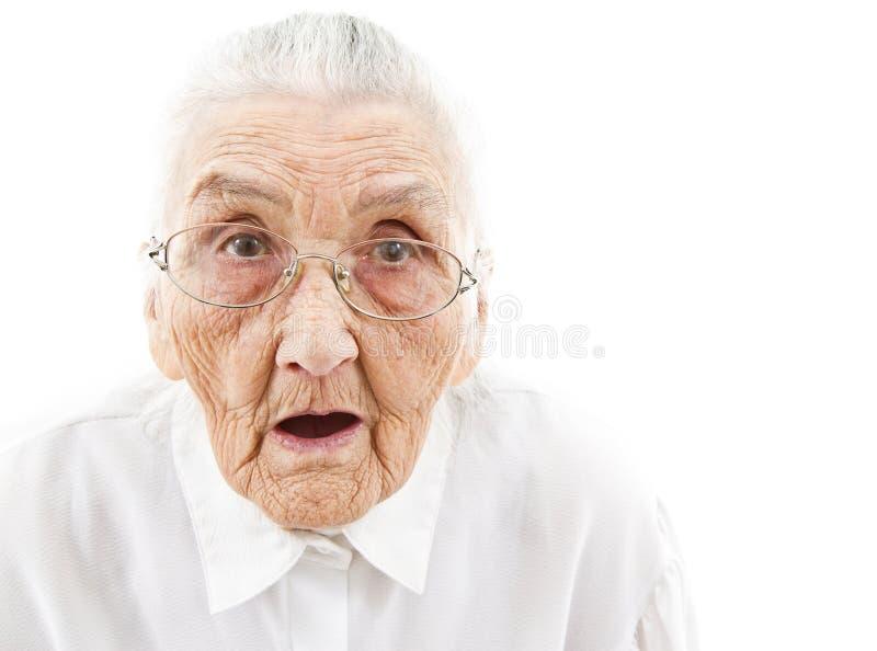 Grandma με το ανοικτό στόμα στοκ εικόνες