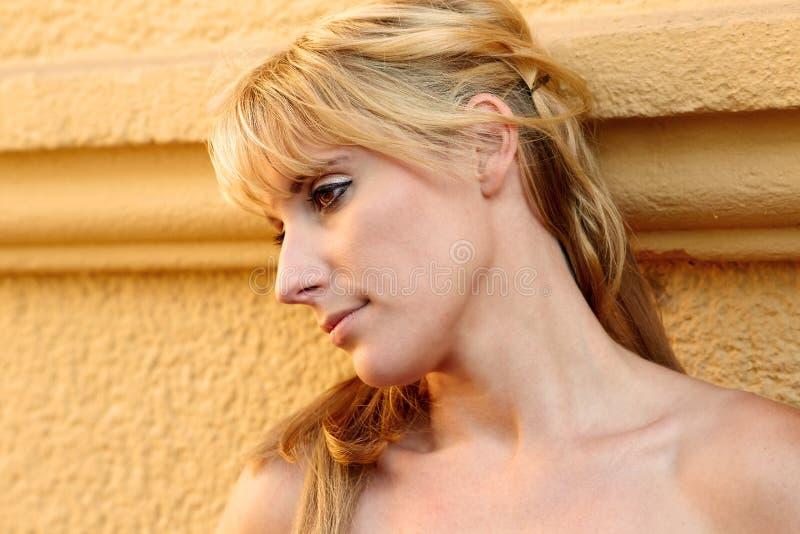 Πορτρέτο μιας αρκετά ξανθής γυναίκας στοκ εικόνες