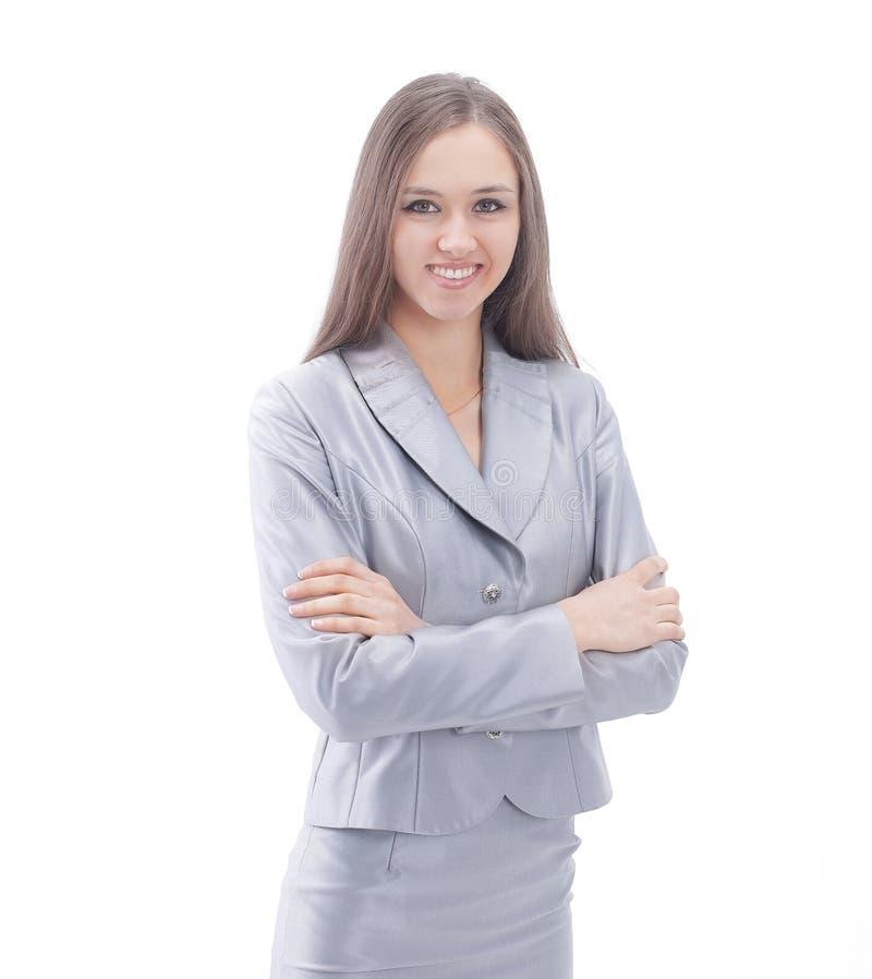 Πορτρέτο μιας βέβαιας επιχειρησιακής κυρίας Απομονωμένος στο λευκό στοκ φωτογραφίες