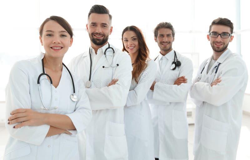 Πορτρέτο μιας επιτυχούς ομάδας οικότροφων γιατρών στοκ εικόνα με δικαίωμα ελεύθερης χρήσης