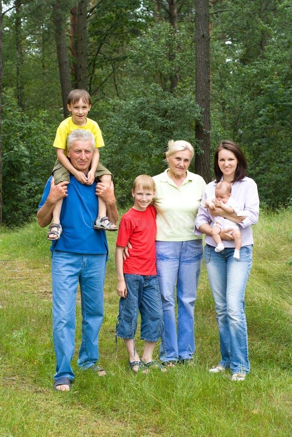 Πορτρέτο μιας ευτυχούς οικογένειας έξι στοκ φωτογραφία