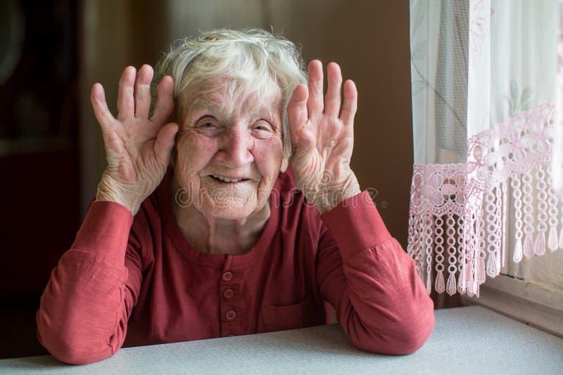 Πορτρέτο μιας ηλικιωμένης ευτυχούς γυναίκας εύθυμης με ένα καλό πρόσωπο στοκ φωτογραφίες με δικαίωμα ελεύθερης χρήσης