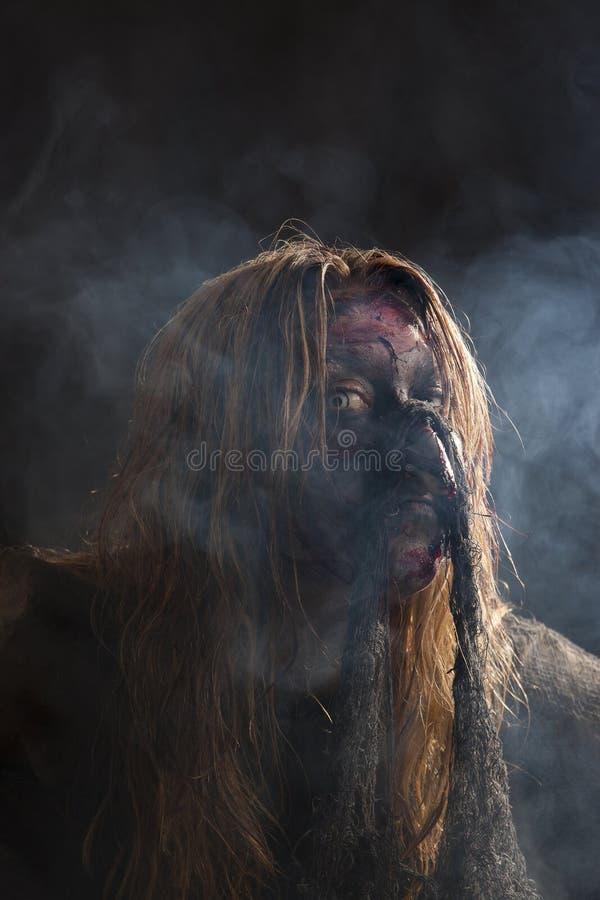 Πορτρέτο μιας μάγισσας στην ομίχλη στοκ φωτογραφία