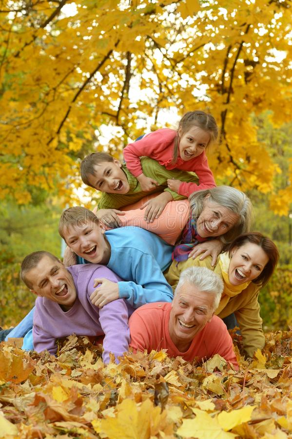 Πορτρέτο μιας μεγάλης οικογένειας που έχει τη διασκέδαση στοκ φωτογραφίες
