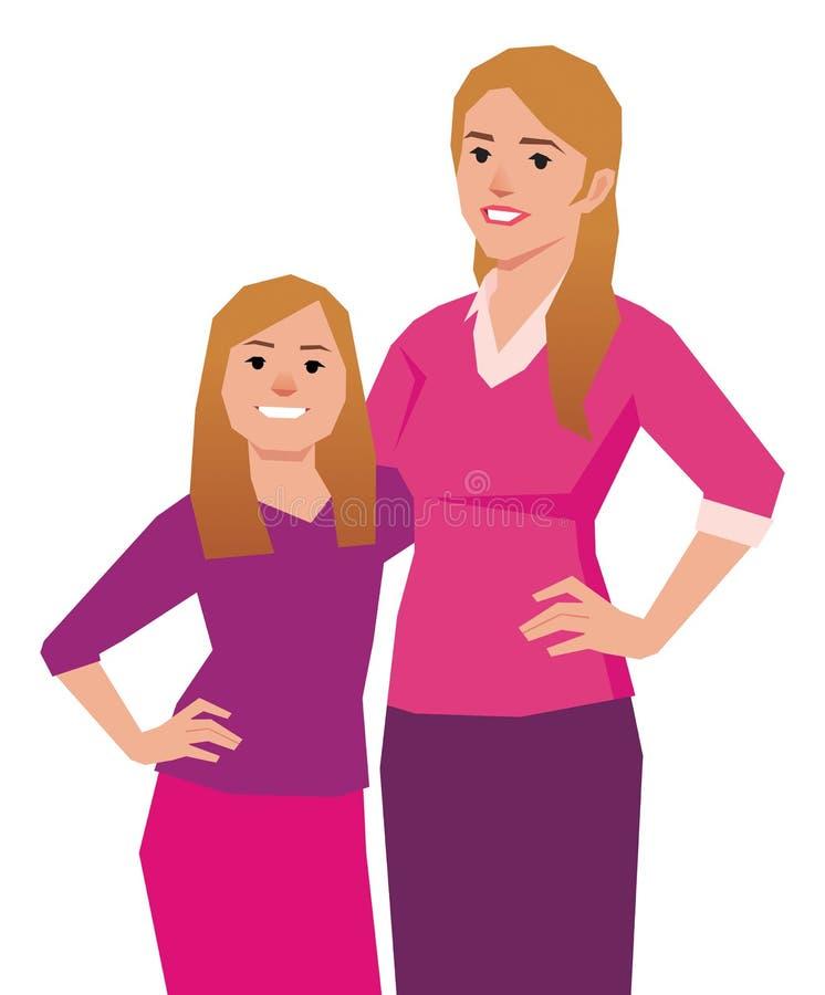 Πορτρέτο μιας μητέρας και μιας κόρης διανυσματική απεικόνιση
