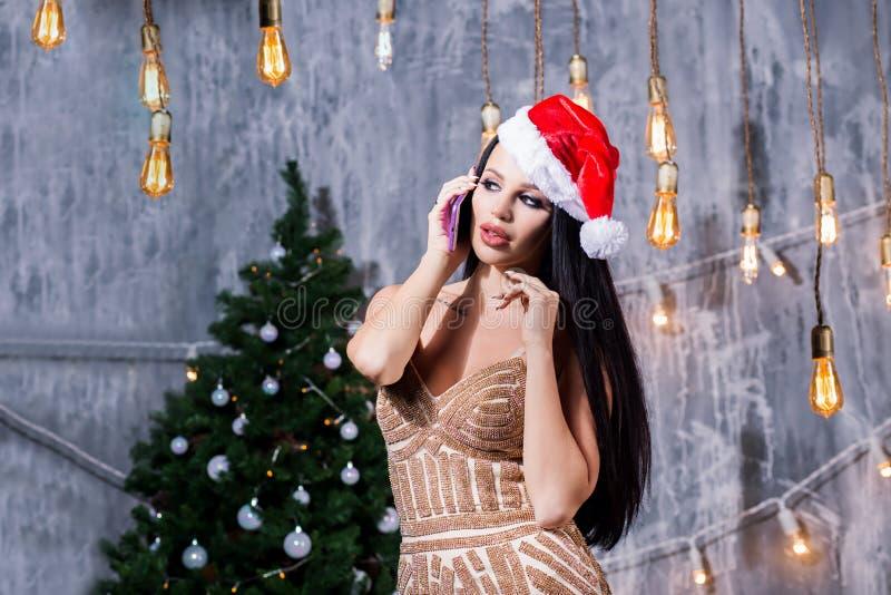 Πορτρέτο μιας νέας χαμογελώντας γυναίκας που κάνει on-line να ψωνίσει πριν από τα Χριστούγεννα Τα νέα έτη είναι σύντομα στοκ εικόνες