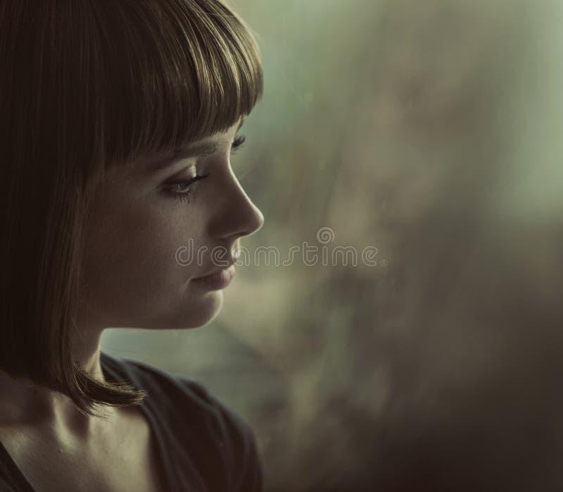 Πορτρέτο μιας νοσταλγικής κυρίας brunette στοκ φωτογραφίες