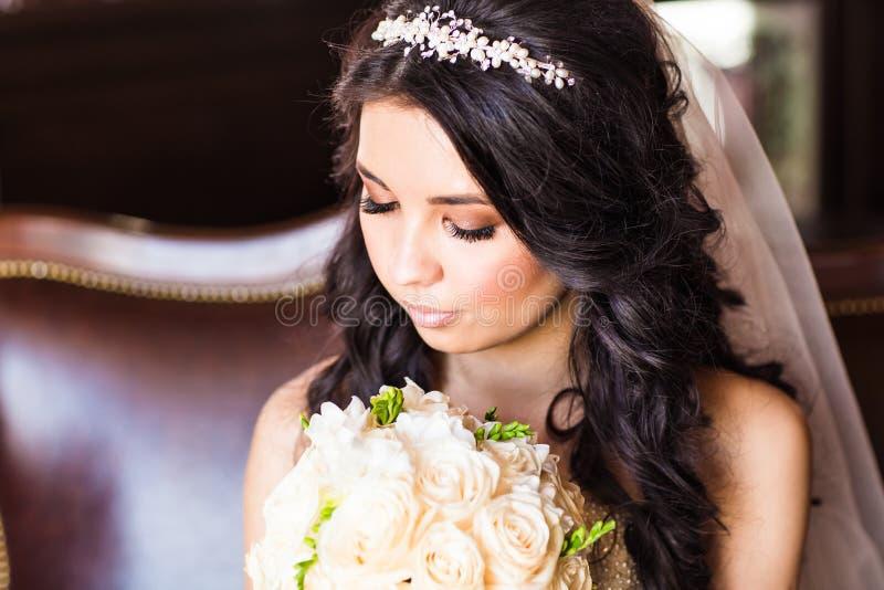 Πορτρέτο μιας νύφης με το γάμο makeup στοκ φωτογραφίες με δικαίωμα ελεύθερης χρήσης