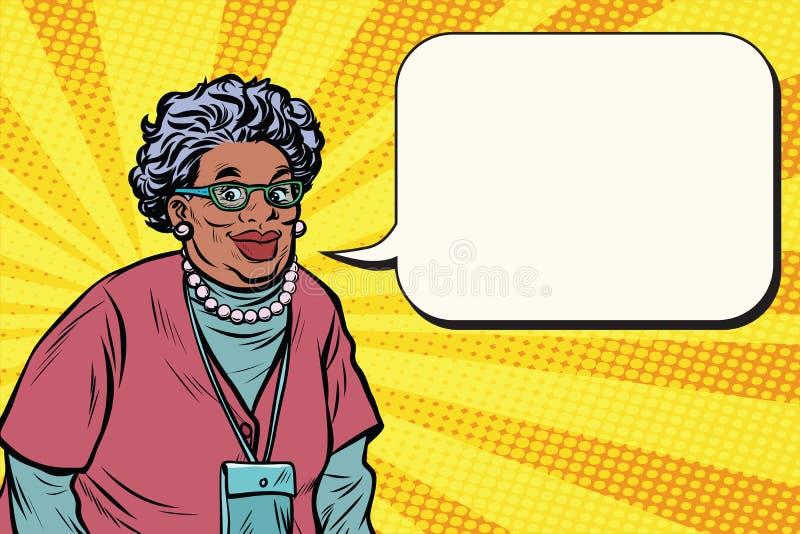 Πορτρέτο μιας χαμογελώντας όμορφης αφρικανικής ηλικιωμένης γυναίκας, γιαγιά απεικόνιση αποθεμάτων