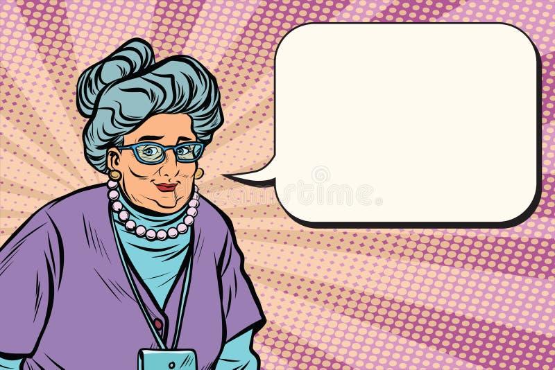 Πορτρέτο μιας χαμογελώντας όμορφης καυκάσιας ηλικιωμένης γυναίκας, γιαγιά διανυσματική απεικόνιση