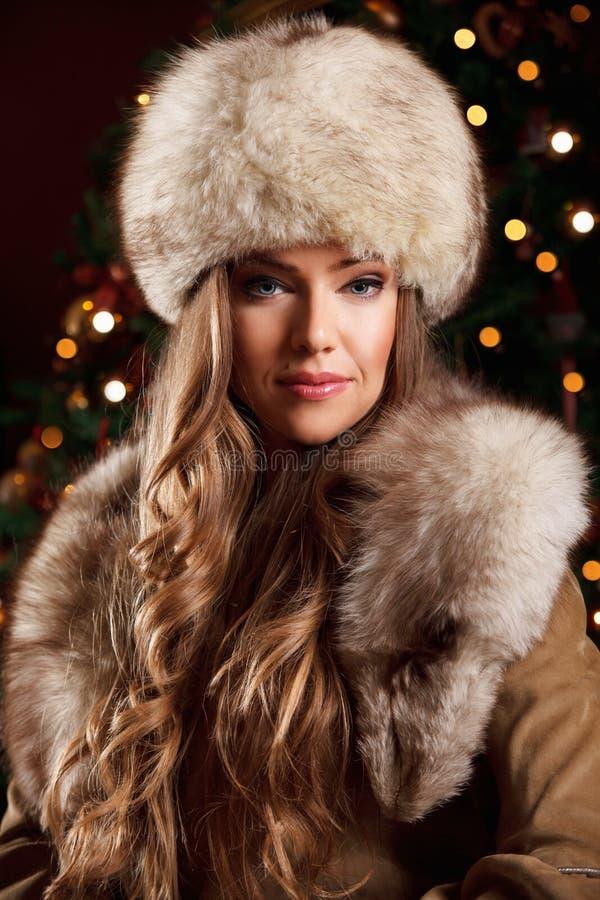 Πορτρέτο μιας όμορφης γυναίκας στο χειμώνα στοκ εικόνα με δικαίωμα ελεύθερης χρήσης