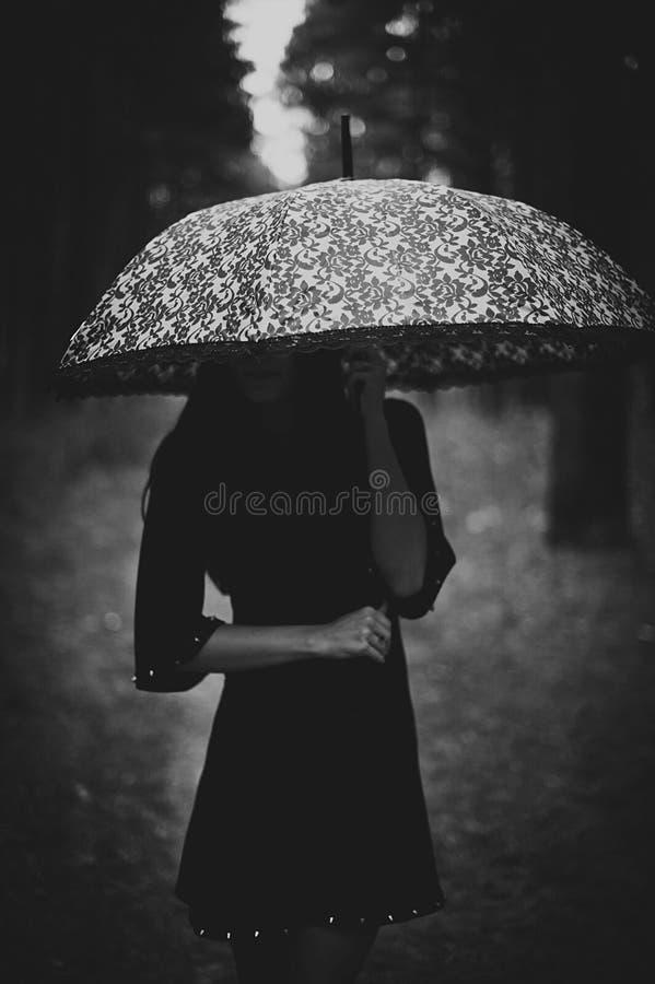 Πορτρέτο μιας όμορφης μυστήριας ομπρέλας εκμετάλλευσης γυναικών στοκ εικόνα με δικαίωμα ελεύθερης χρήσης