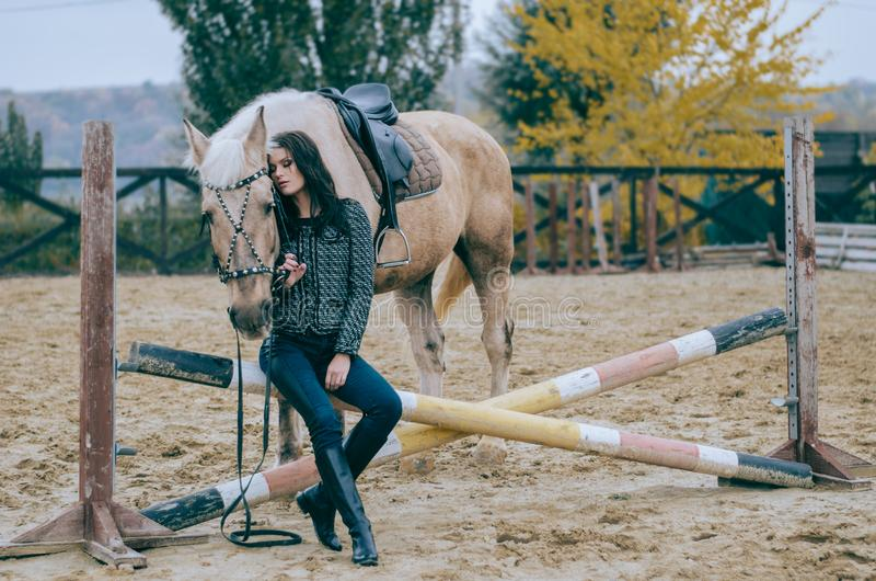 Πορτρέτο μιας όμορφης τοποθέτησης brunette στην πλάτη αλόγου Οδήγηση πλατών αλόγου Φωτογραφία τρόπου ζωής η μόδα σεντονιών βάζει  στοκ φωτογραφίες