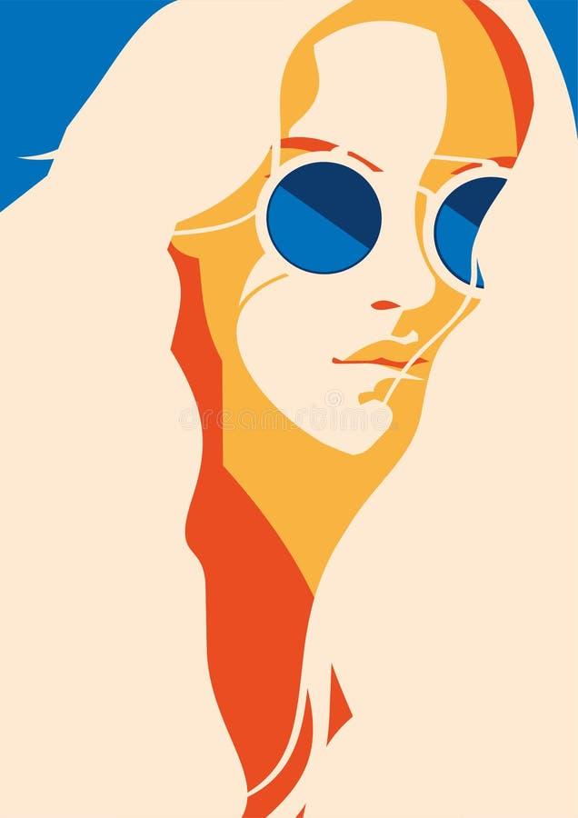 Πορτρέτο μόδας ενός πρότυπου κοριτσιού με τα γυαλιά ηλίου Αναδρομικό καθιερώνον τη μόδα αφίσα ή ιπτάμενο χρωμάτων στοκ εικόνα με δικαίωμα ελεύθερης χρήσης