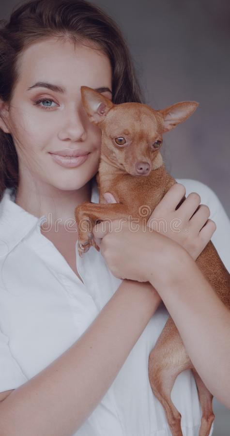 Πορτρέτο μόδας του όμορφου κοριτσιού με το σκυλί στοκ φωτογραφίες με δικαίωμα ελεύθερης χρήσης
