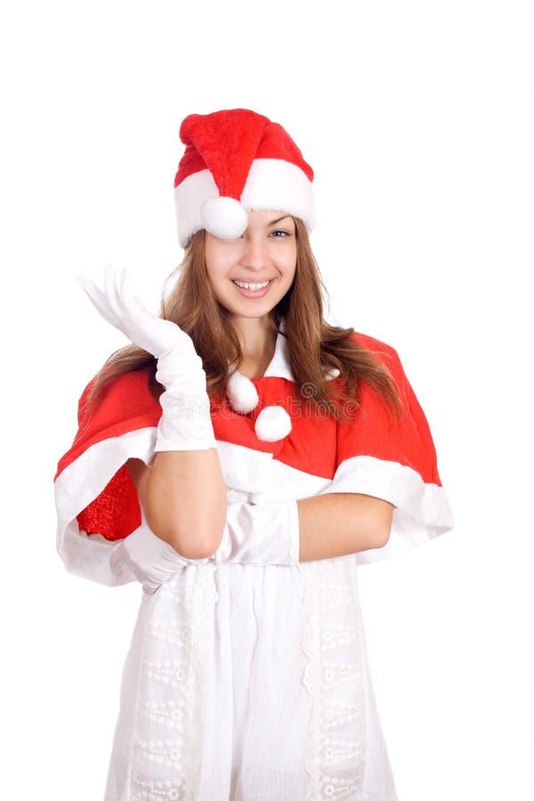 Πορτρέτο νέο να αναρωτηθεί γυναικών Χριστουγέννων στοκ φωτογραφία
